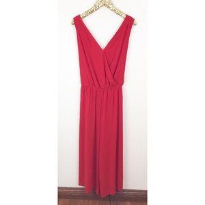 Ava & Viv Red Sleeveless Tie Waist Crop Jumpsuit